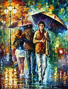 Umbrella Painting Originals - Meeting My EX by Leonid Afremov