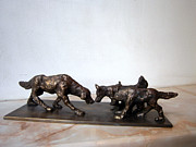 Dog Sculpture Framed Prints - Meeting of the dogs Framed Print by Nikola Litchkov
