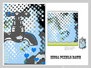 Stripes Mixed Media - Mega Pixels In Blue Bath Art by Anahi Decanio