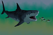 Prehistoric Digital Art - Megalodon Shark Attack by Corey Ford