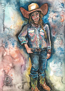 Cowgirl Boots Posters - Megans Ride Poster by Kim Whitton