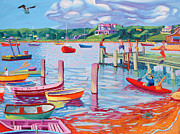 Paddles Paintings - Megansett Dock with Osprey by Sean Boyce