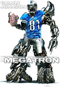 Lions Digital Art Framed Prints - Megatron-Calvin Johnson Framed Print by Peter Chilelli