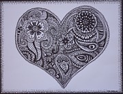 Gifts Drawings Originals - Mehndi Henna style abstract heart drawing by Jennifer Vazquez