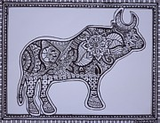 Interior Design Drawings Originals - Mehndi henna style Bull abstract drawing by Jennifer Vazquez