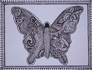 Interior Design Drawings Originals - Mehndi Henna style butterfly abstract drawing by Jennifer Vazquez