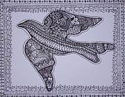 Interior Design Drawings Originals - Mehndi Henna style dove ink drawing by Jennifer Vazquez