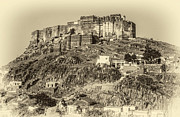 Rajasthan Prints - Mehrangarh Fort sepia Print by Steve Harrington