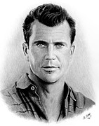 Star Drawings Posters - Mel Gibson bw Poster by Andrew Read