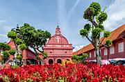 Melaka Red Square Print by Adrian Evans
