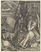 Angels Drawings Framed Prints - Melancholia I Framed Print by Albrecht Durer