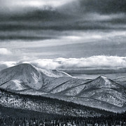 Kanada Prints - Melancholia Mountains Peaks With Snow Print by Priska Wettstein