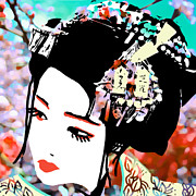 Geisha Digital Art Framed Prints - Melancholy Framed Print by dreXeL