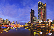 Casino Art - Melbourbe Skyline and Yarra River at Twilight Square by Colin and Linda McKie