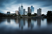 Business-travel Framed Prints - Melbourne skyline reflection Framed Print by Matteo Colombo