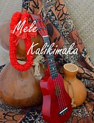 Mary Deal Photos - Mele Kalikimaka with Red Ribbon Lei by Mary Deal