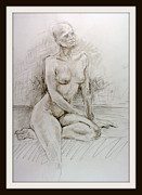 Nipples Drawings Framed Prints - Melinda Sitting on one Leg Framed Print by Andy Gordon
