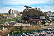 Bulldozers Framed Prints - Mellon Arena Partially Deconstructed Framed Print by Amy Cicconi