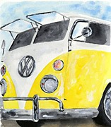 Kombi Posters - Mellow Yellow Surf Wagon Poster by Sheryl Heatherly Hawkins