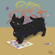 Cat Paw Digital Art Posters - Melly Paints Poster by Elizabeth Oliver