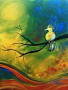 Bird On Tree Prints - Melody Print by Fatema Josh