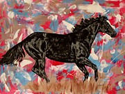Wild Pony Drawings Prints - Melody of the wind  - racehorse Print by Lucka SR