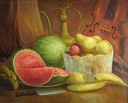 Bananas Paintings - Melody With Fruits by Michael Chesnakov