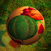 Fruit Digital Art Posters - Melon Ball  Poster by Robin Moline