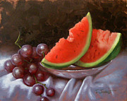 Fruit. Watermelon Paintings - Melon Slices by Timothy Jones