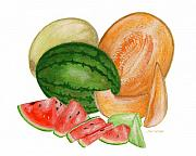 Cantaloupe Painting Prints - Melons  Print by Nan Wright