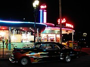 Night Diner Prints Posters - Mels Diner Number Three Poster by John Malone