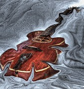Lebron Prints - Melted Digital Guitar Art by Steven Langston Print by Steven Lebron Langston