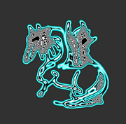Silver Turquoise Digital Art - Melting Neon Horse by Renee Trenholm