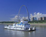 Mississippi River Posters - MEMCO Towboat in St Louis Poster by Garry McMichael