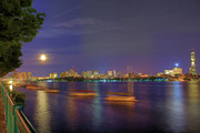 Night Scenes Prints - Memorial Drive - Cambridge Print by Joann Vitali