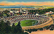 Football Paintings - Memorial Football Stadium In U C Berkeley Around 1940 by Dwight Goss