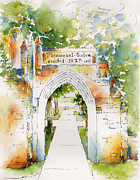 Streetscape Paintings - Memorial Gates by Pat Katz
