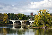 Fall  Of River Digital Art - Memorial St. Bridge Binghamton NY by Christina Rollo
