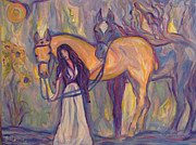 Horse Pastels Paintings - Memories of Horses by Georganne Bishop