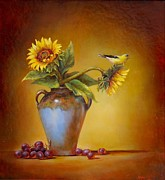 Sunflower Painting Metal Prints - Memories of Summer Metal Print by Lori  McNee