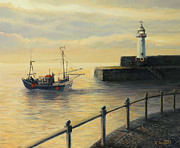 Quay Painting Prints - Memories of The Old Lighthouse Print by Kiril Stanchev