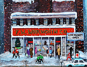 Moody Paintings - Memories of Winter at Woolworths by Rita Brown