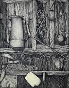 Corn Drawings Prints - Memory Box Print by Micheal Jones