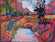 Zion National Park Painting Prints - Memory of Zion Print by Erin Hanson