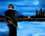 Angel Blues  Painting Framed Prints - Memphis Dream with B B King Framed Print by Mark Moore
