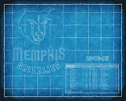 Nba Playoffs Prints - Memphis Grizzlies Blueprint Print by Joe Myeress