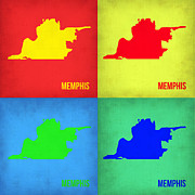 World Map Digital Art Metal Prints - Memphis Pop Art Map 1 Metal Print by Irina  March