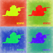 Map Art Digital Art Prints - Memphis Pop Art Map 2 Print by Irina  March