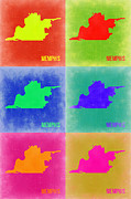 Tennessee Metal Prints - Memphis Pop Art Map 3 Metal Print by Irina  March