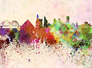 Memphis Skyline In Watercolor Background Print by Pablo Romero